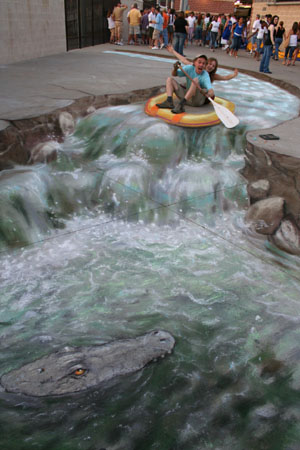 Drawn river 3d art 3D Beever's Bored Amazing Pavement