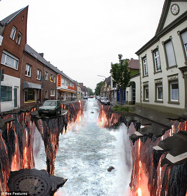 Drawn river 3d art Absolutely 3D (Paintings) were street