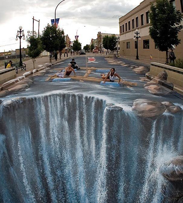 Drawn river 3d art 3D Talented Bored 5 Sidewalk