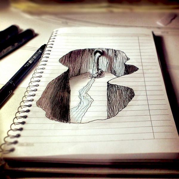 Drawn river 3d art Amazing 50 Hative on Pencil