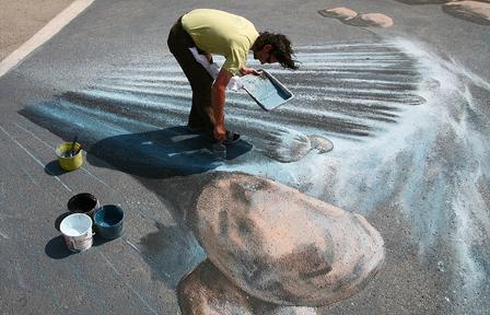 Drawn river 3d art & Street feet graffiti Graffiti