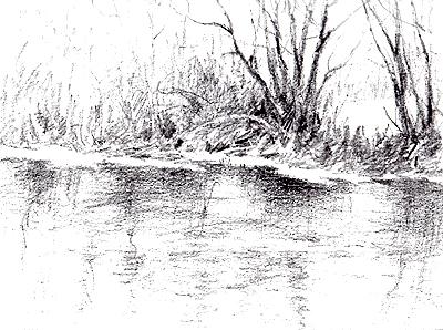 Drawn river black and white San Parker River Artist Page