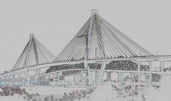 Drawn bridge river bridge Ship the Building Arthur