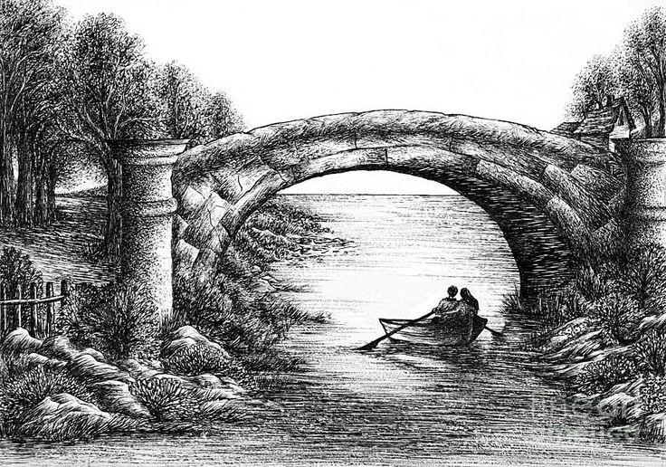 Drawn river bridge Severn Pinterest Drawings and Drawings