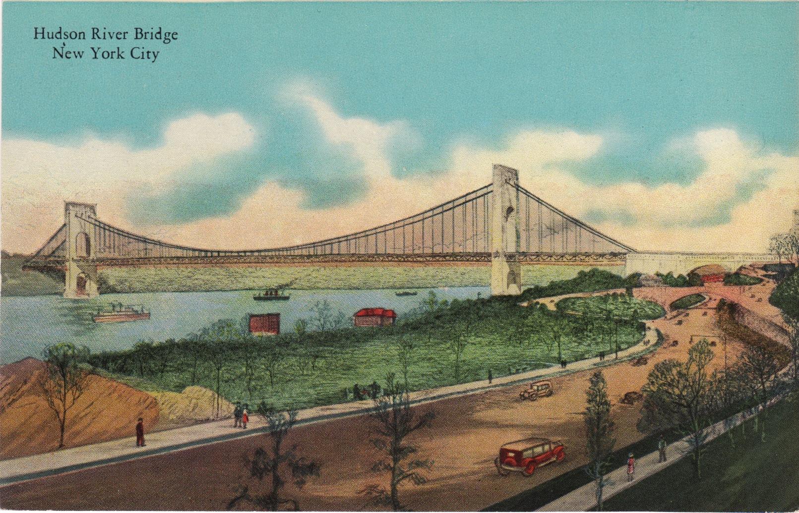 Drawn river bridge Unbuilt York Old York Postcards