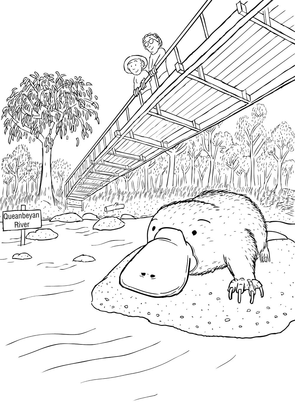 Drawn river cartoon On bridge man river's woman