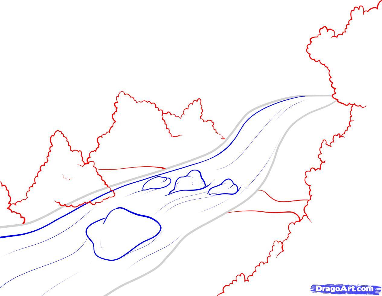 Drawn river cartoon A Step river 3 Landmarks
