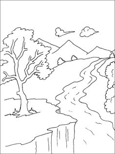 Drawn river color for kid Coloring  Kids Landscapes page