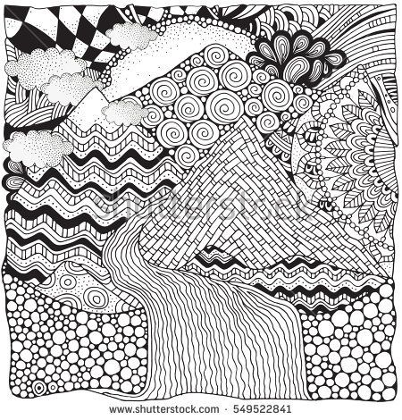 Drawn river coloring book ART and for Pattern ZENTANGLE