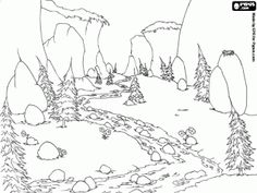 Drawn river coloring page Mountain that flows design of