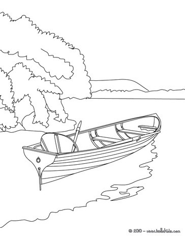 Drawn river colouring page Pages on : the Rowboat