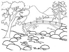 Drawn river colouring page By Pin FOREST Ponderosa for