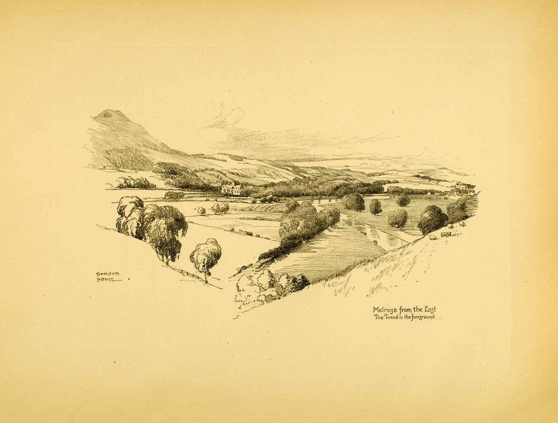 Drawn river countryside landscape Scotland  Gordon Print Landscape