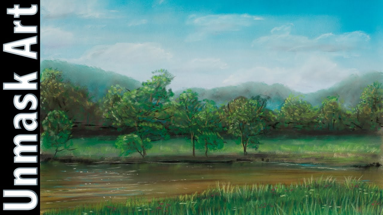 Drawn river countryside landscape Soft Countryside River Lapse Time