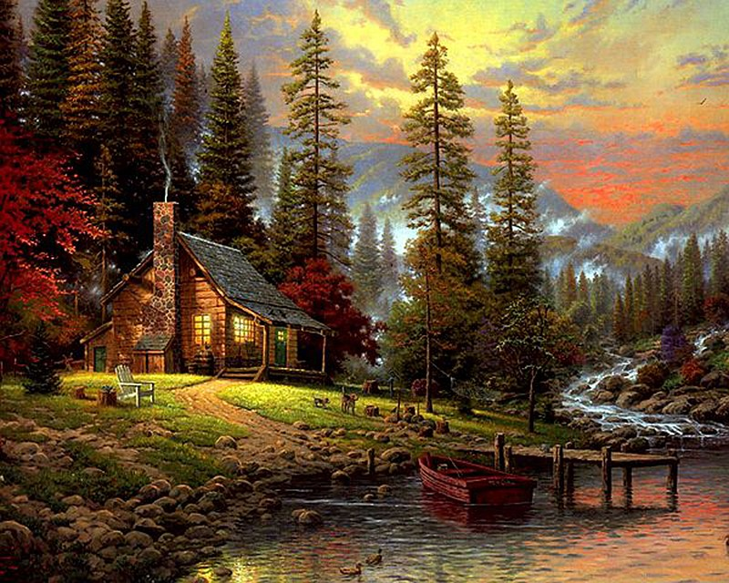 Drawn river countryside landscape Diy Buy Painted River Hand