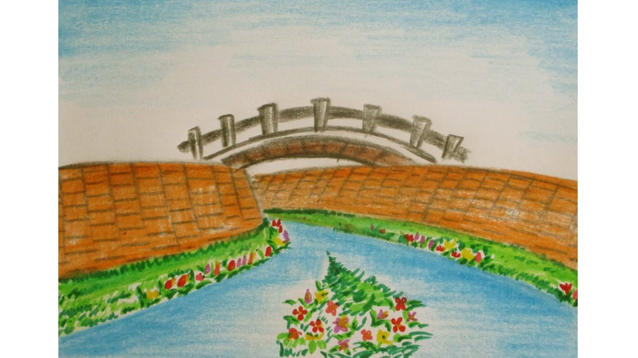 Drawn scenery river In easy to kids and