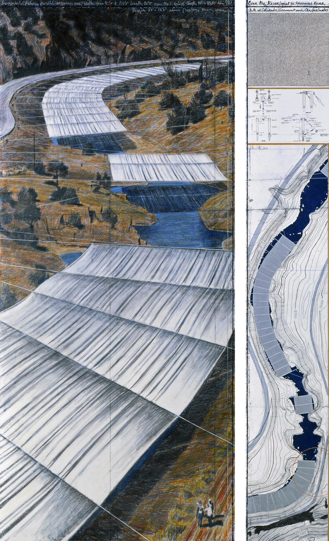 Drawn river crayon The  of State Christo