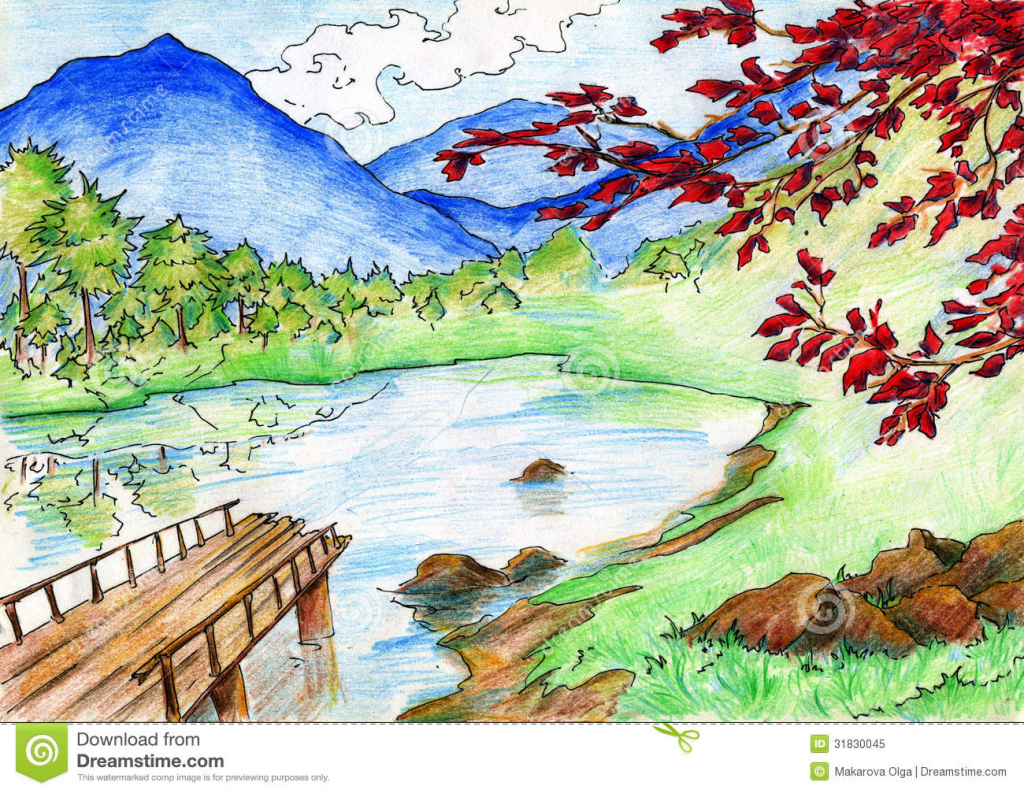 Drawn river crayon How  Mountains Landscape With