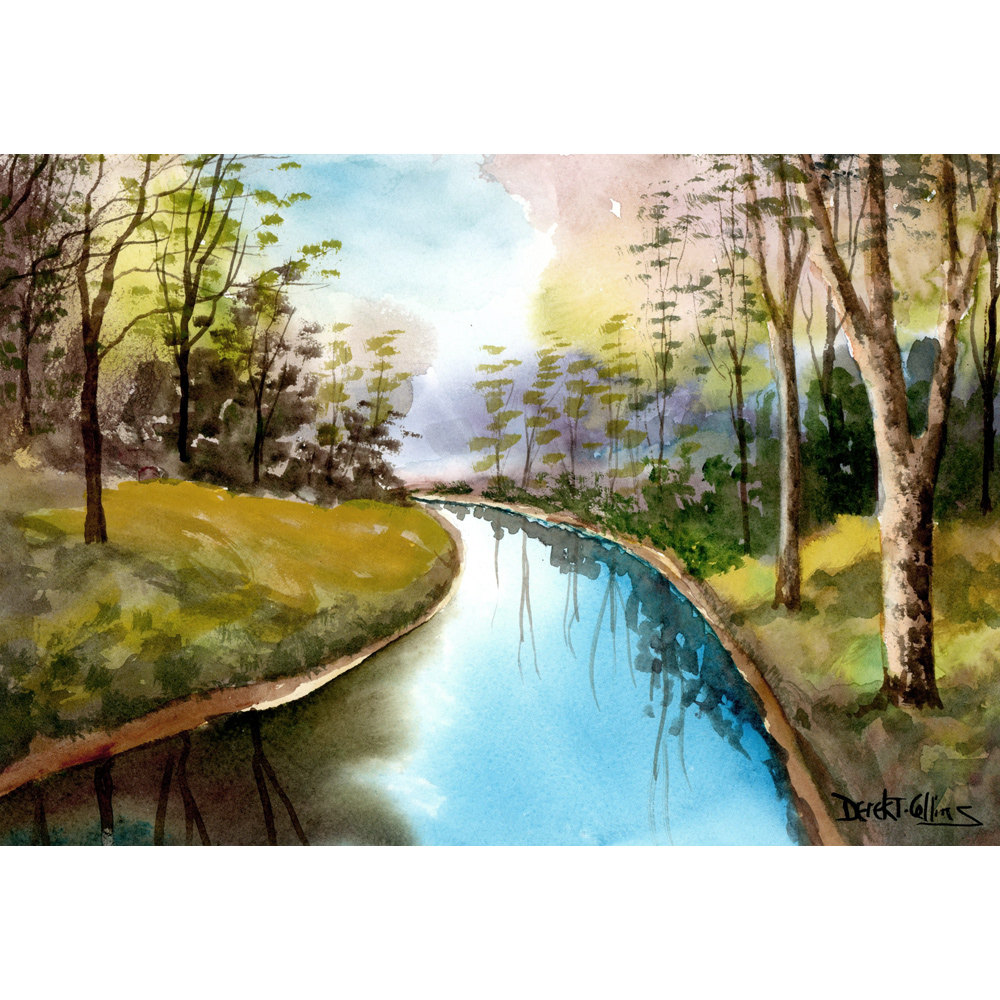 Drawn river creek River stream Tree Paintings Creek
