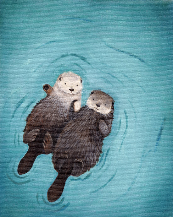 Drawn river cute Etsy Art Otters Hands of