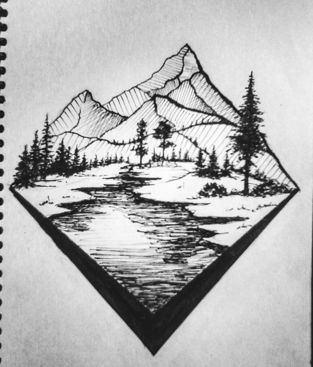Drawn river elementary drawing exam nature #scetch #art art #paint #illustration
