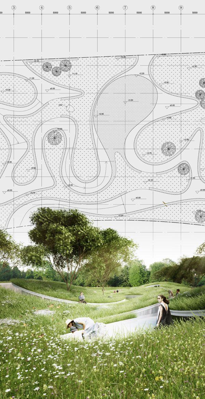 Drawn river farm landscape Landscape