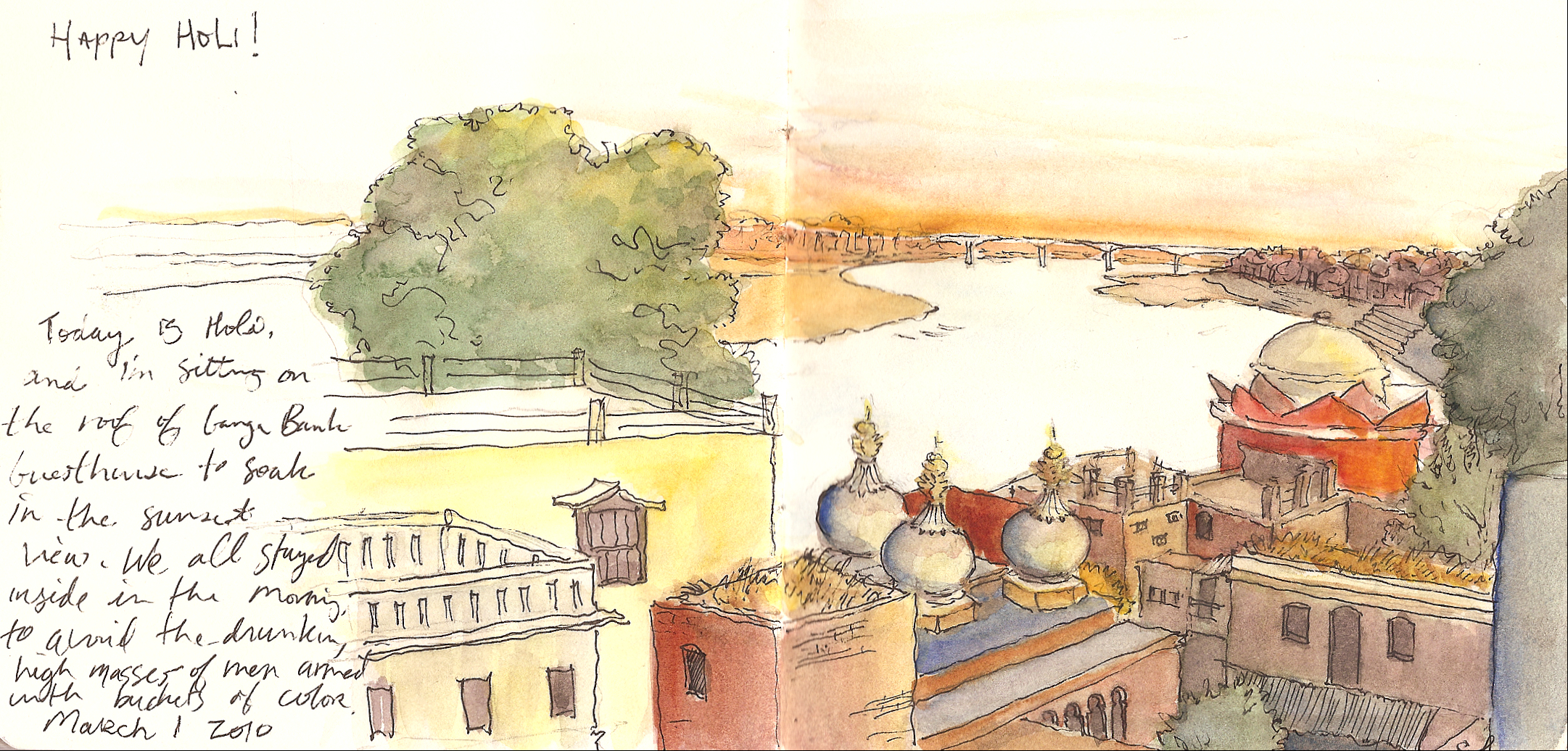 Drawn river ganga Ganga ganga Varanasi Guesthouse Drawn