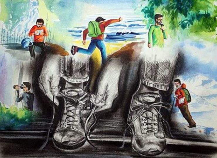 Drawn river nirmal nadi LOOK State Prakashite 3rd Painting
