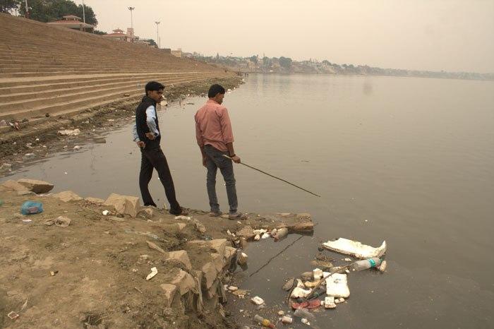 Drawn river nirmal nadi River Varanasi; The in river