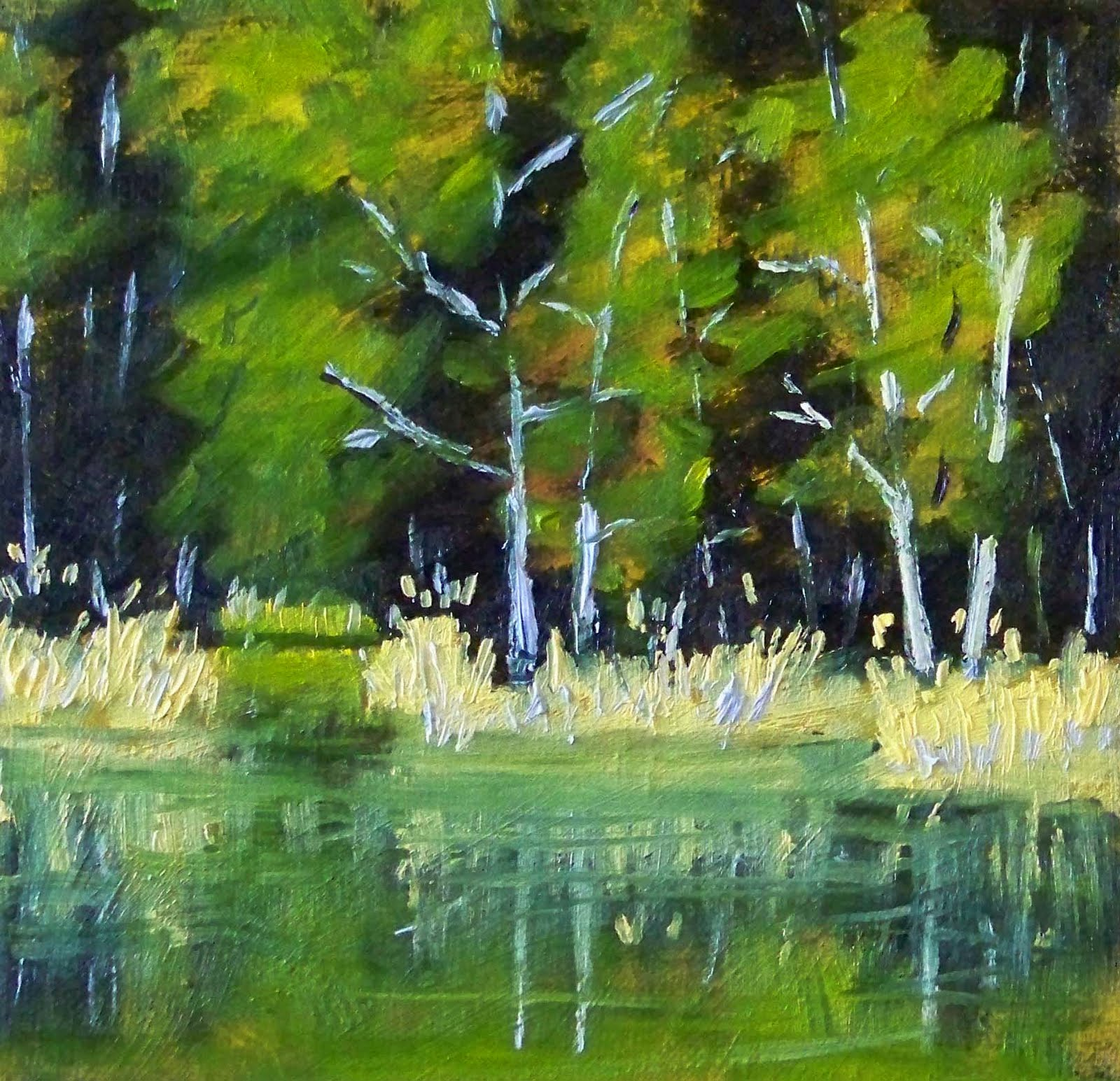 Drawn river oil painting Original the to on Impressions: