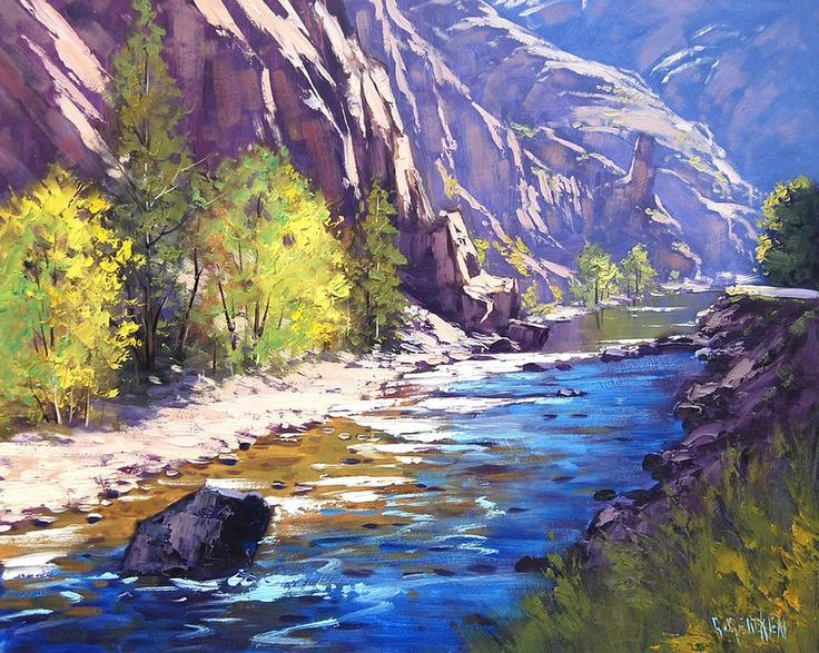 Drawn river oil painting Труде 469 ч Работы :