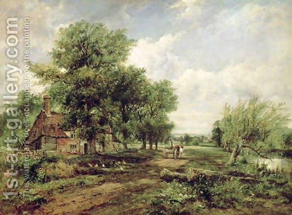 Drawn river oil painting Landscape a horse a landscape