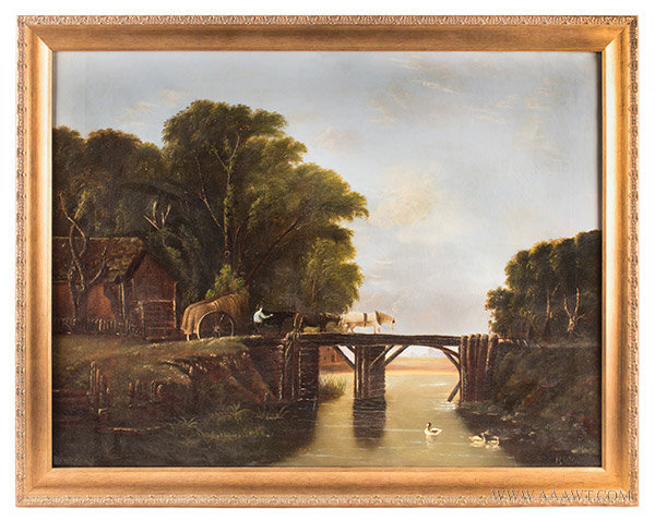 Drawn river oil painting Century Antique New Folk (Lake