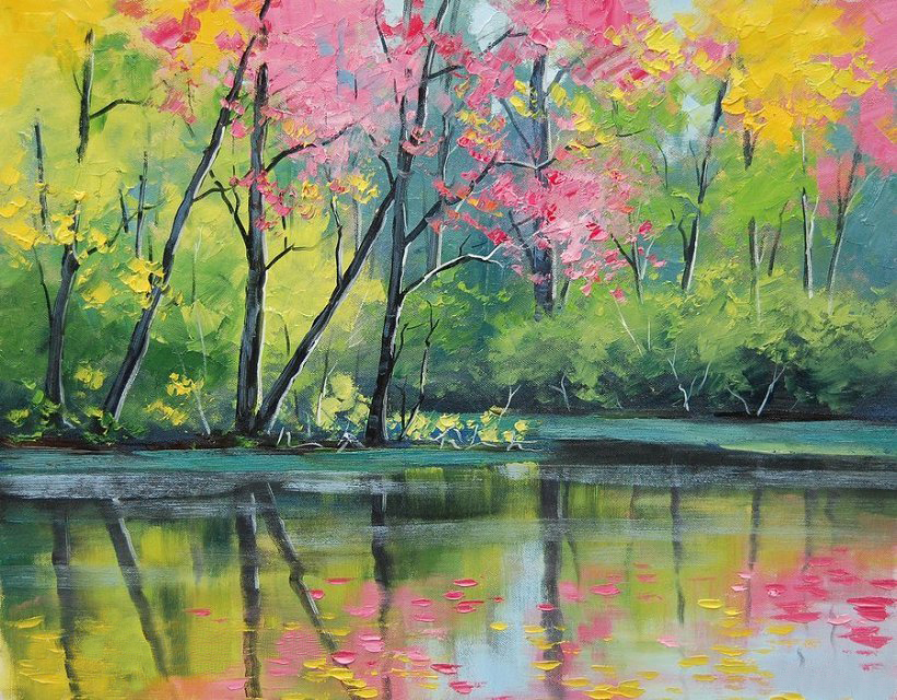Drawn river oil painting Buy high quality Oil decoration