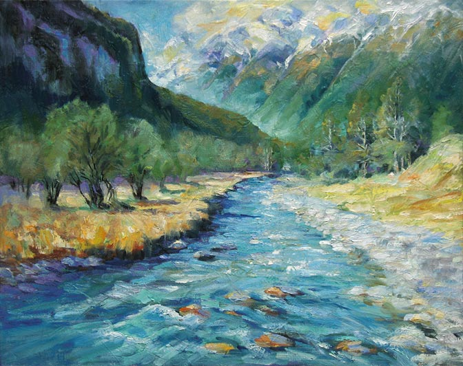 Drawn river oil painting Oil on Goes painting by