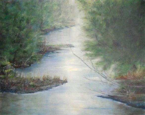 Drawn river oil pastel  Oil Lakes Rivers pastels