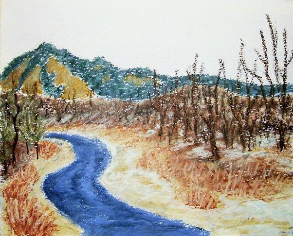 Drawn river oil pastel Except The rest pastels critique