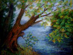 Drawn river oil pastel Find Pastel this Pin ART