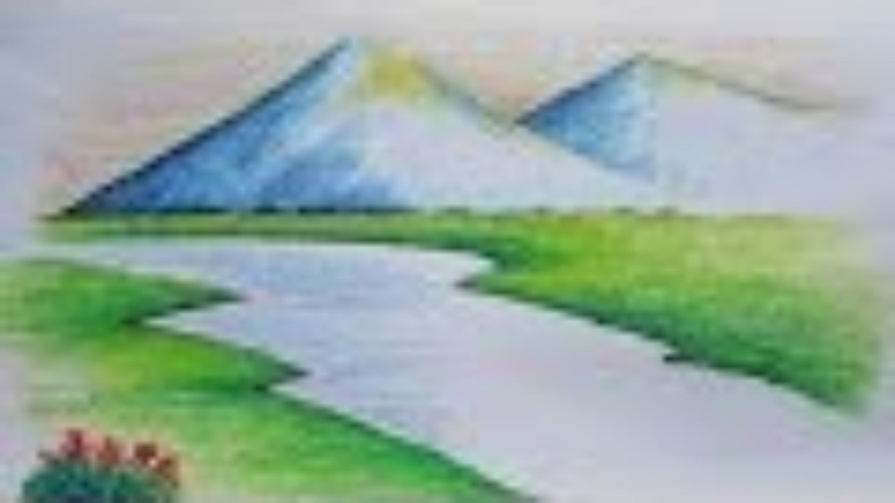 Drawn river oil pastel Beginners Video Mountain Landscape Pastel