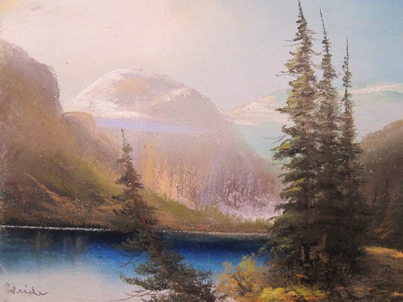 Drawn river oil pastel Vintage on on unframed Canadian