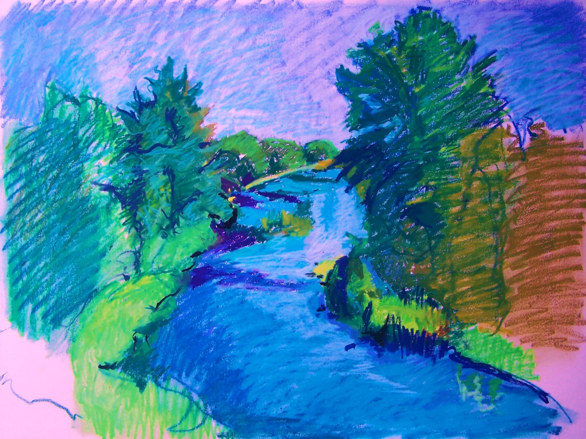 Drawn river oil pastel The Weblog river Flowing Kuschan's
