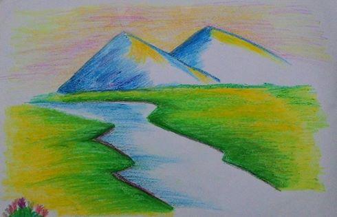 Drawn river oil pastel Cold oil River oil River