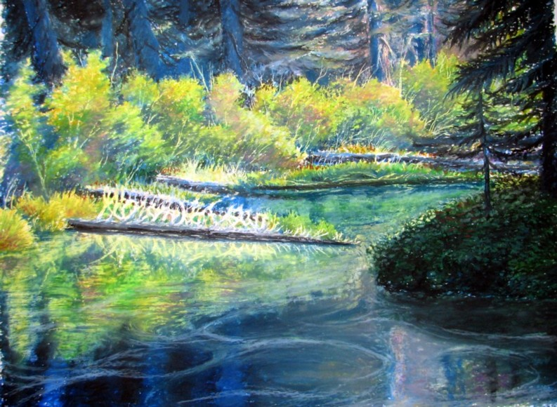 Drawn river oil pastel Santiam pastel River Bones oil