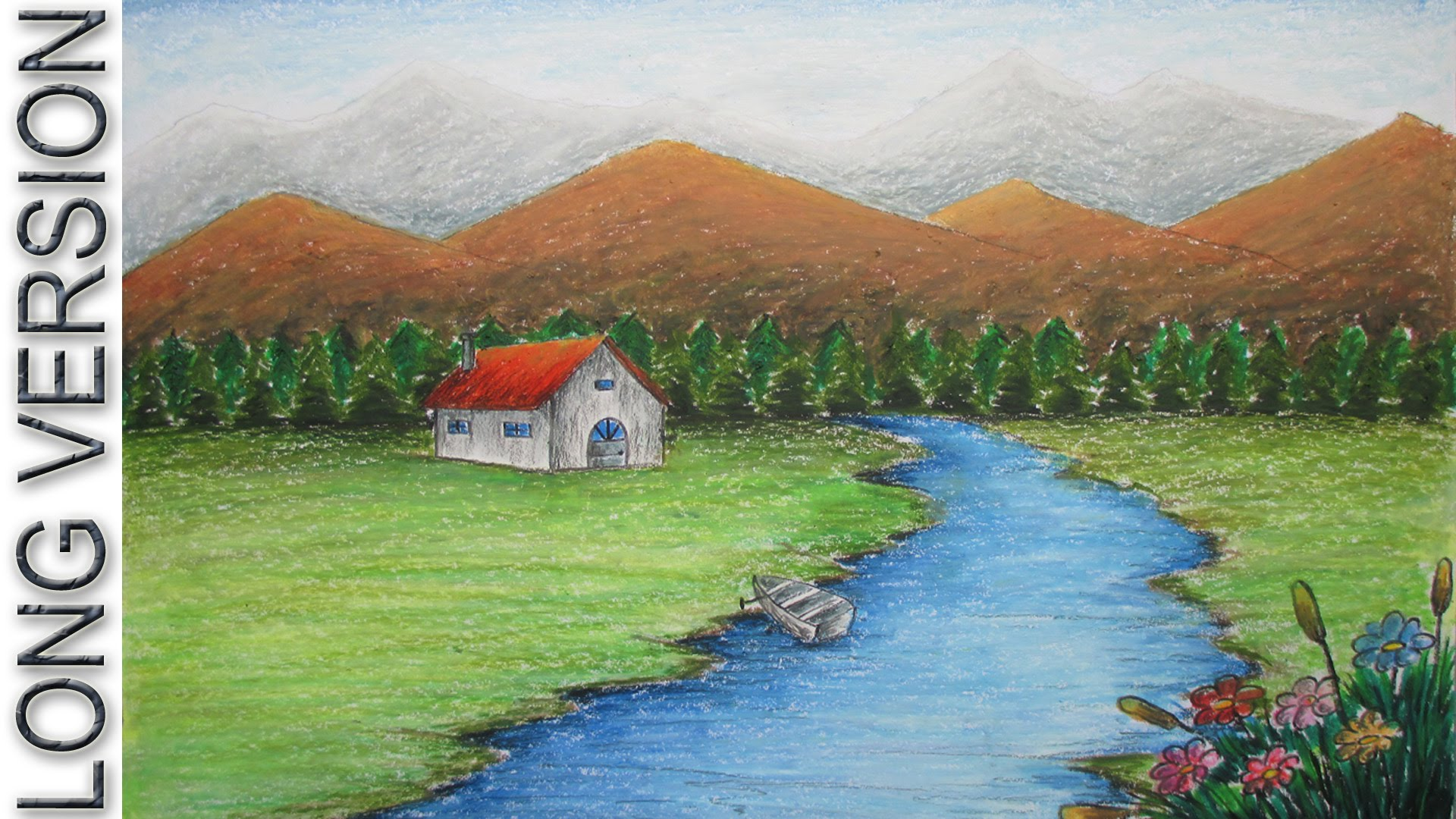 Drawn river oil pastel Beginners [LONG Mountain Landscape Pastel