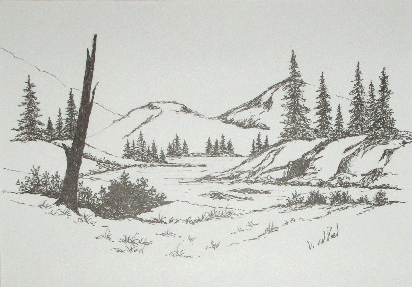 Drawn river pen Ink & Scene Scene