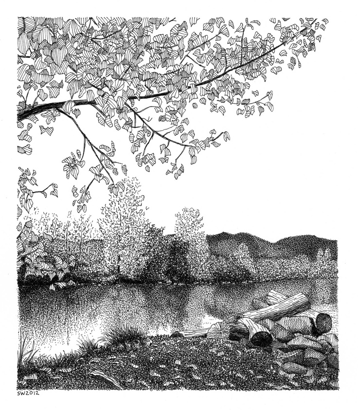 Drawn river pen and ink River Fall best 308 &
