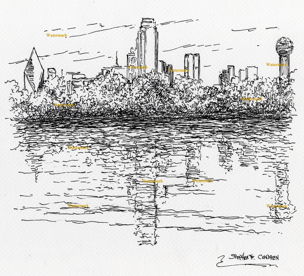 Drawn river pen and ink Downtown their skyline Pen &