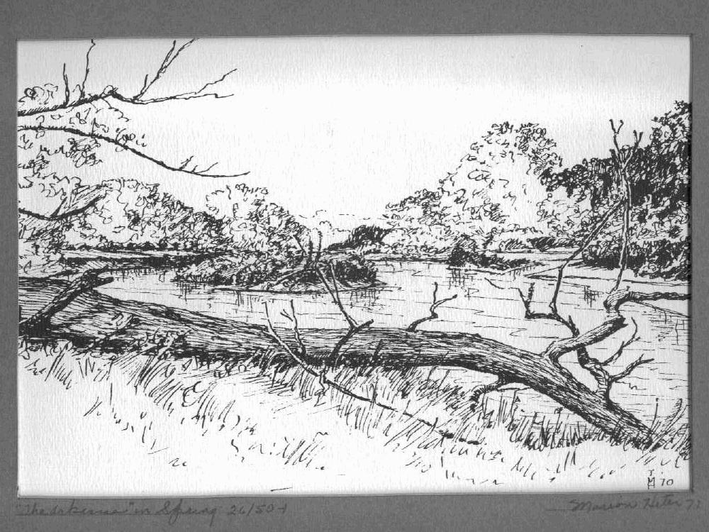 Drawn river pen and ink HETER of Thomas Kansas and