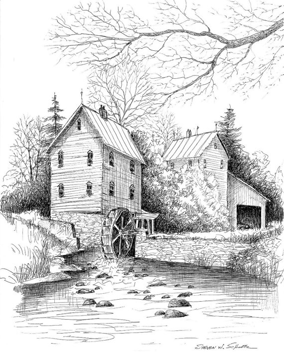 Drawn river pen and ink Mill Johann Evening River Limited
