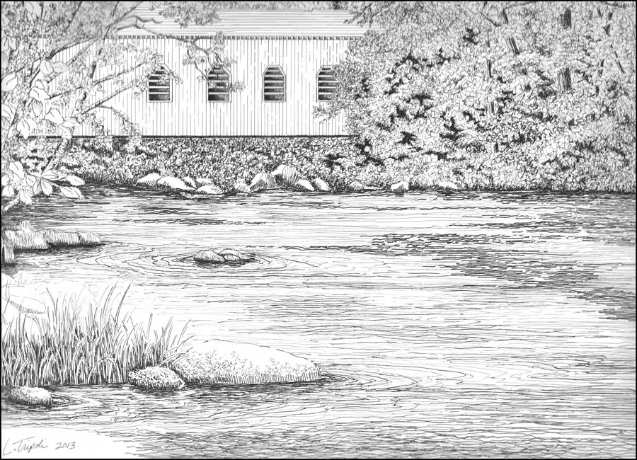 Drawn river pen and ink Bridge Lawrence Covered Lawrence by